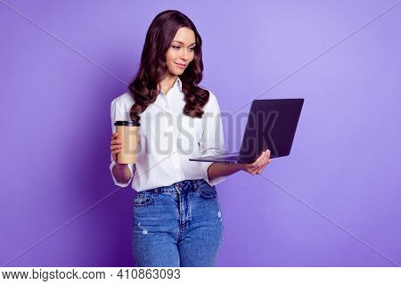 Profile Photo Of Lady Hold Netbook Takeaway Coffee Cup Look Screen Wear White Shirt Isolated Violet