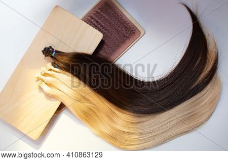 Micro Beads Nano Ring Human Hair Extensions On White Background
