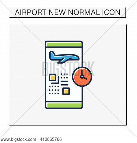 Digital Check-in Color Icon. Passengers Confirm Their Presence On A Flight Via The Internet And Typi
