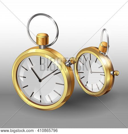 Realistic 3D Models Of Gold Pocket Watches. Two Classic Pocket Watches Poster Design Template. Vecto