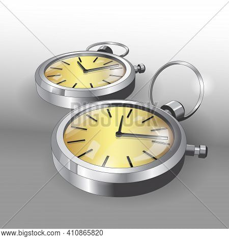 Realistic 3D Models Of Pocket Silver Watches. Two Classic Pocket Watches Poster Design Template. Vec