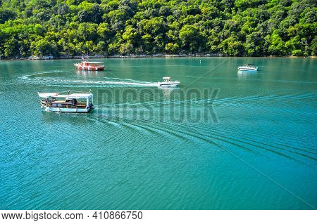 The Lima Canal With Pleasure Boats And Boats. Croatia, Istria. Shooting From A Drone.