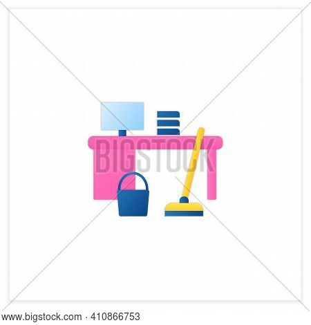 Office Cleaning Flat Icon. Keeping Workplace Clean. Tidy Office Desk. Mopping, Wiping, Dusting. Clea