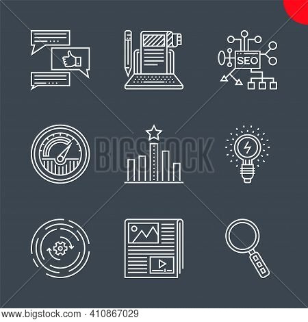 Seo Related Vector Line Icons Set. Isolated On Black Background. Seo Planing, Article Submission, Tr