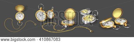 Set With Realistic 3d Models Of Gold, Chrome And Silver Pocket Watches. Collection Of Classic Pocket