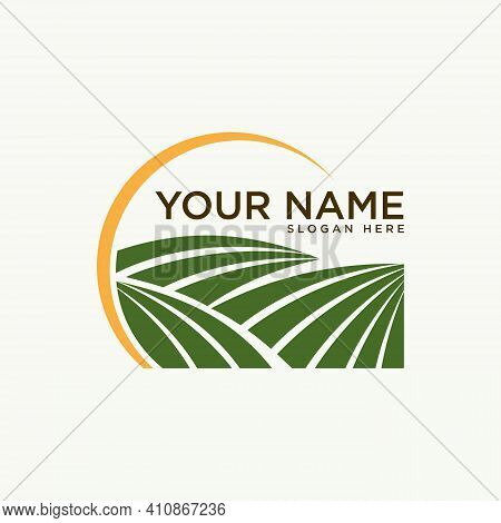 Farming Design Emblem For Agriculture Symbol With Sun. Rural Country Farming Field. Vector Illustrat