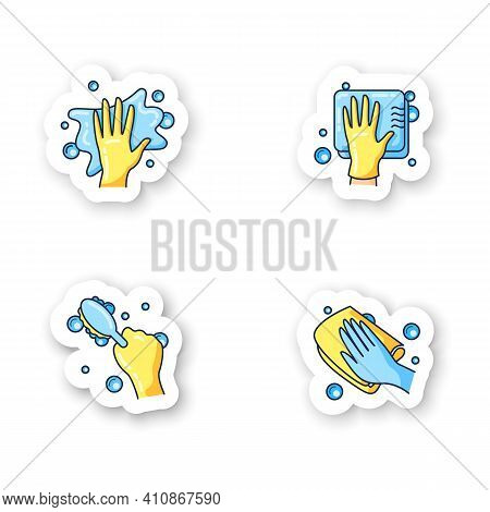 Surface Wiping Stickers.housekeeper Hand Pictogram Collection. Wet Cleaning With Sponge, Brush, Napk