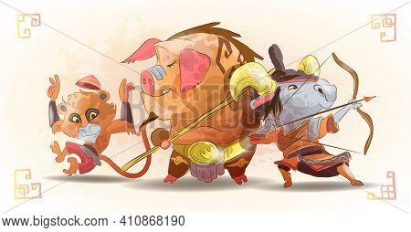 Chinese Zodiac Animals Cartoon Characters Of Monkey Pig Goat Isolated Cartoon Hand Drawn Vector Illu