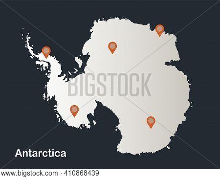 Antarctica Map, Infographics Flat Design Colors Snow White Vector