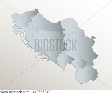 Yugoslavia Map, Administrative Division, White Blue Card Paper 3d Blank