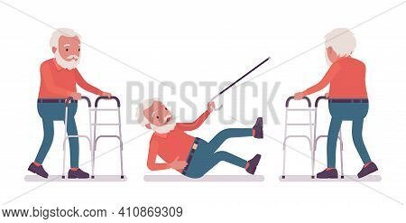 Old Man, Elderly Person With Medical Walker, Cane Slippery. Senior Citizen Over 65 Years, Retired Be