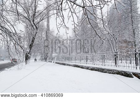 Snow-covered Winter Street In A City, Trees Covered With Ice And Snow, Sleet Load. Weather Forecast