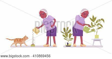 Old Black Woman, Elderly Person Watering Plants, Feeding Pet Cat. Senior Citizen Over 65 Years, Reti