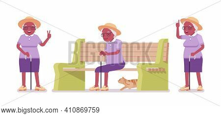 Old Black Woman, Elderly Person Sitting On Bench. Senior Citizen Over 65 Years, Retired Grandmother,