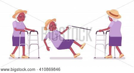 Old Black Woman, Elderly Person With Medical Walker, Cane Slippery. Senior Citizen Over 65 Years, Re