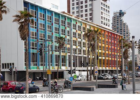 Israel, Tel Aviv, February, 2018 - Rainbow Building On The Gordon Promenade. Dan Hotel, Designed By