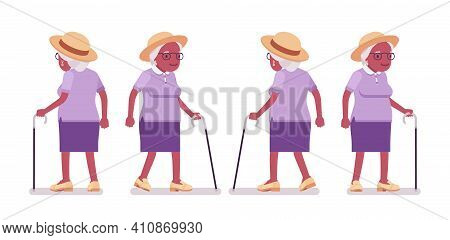 Old Black Woman, Elderly Person With Walking Cane. Senior Citizen Over 65 Years, Retired Grandmother
