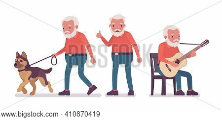 Old Man, Happy Elderly Person With Guitar, Pet Dog. Senior Citizen Over 65 Years, Retired Bearded Gr