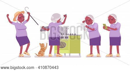 Old Black Woman, Elderly Person Cooking Food, Using Mobile Phone. Senior Citizen Over 65 Year, Retir