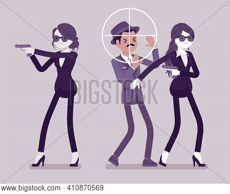 Bodyguard Women Protect Important Famous Man, Sniper Optical Sight. Professional Trained Armed Perso