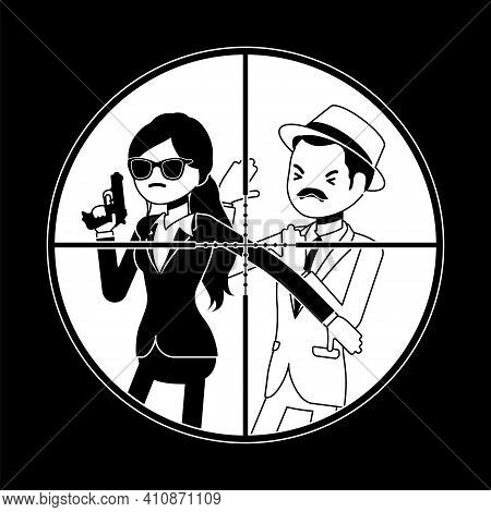 Bodyguard Woman Protecting Important Famous Man In Sniper Optical Sight. Focus Aiming To Vip Celebri