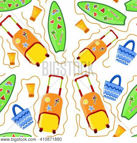 Seamless Pattern With Suitcase, Beach Bag, Sunscreen, Surfboard. Summer Holiday Pattern. Summer Time