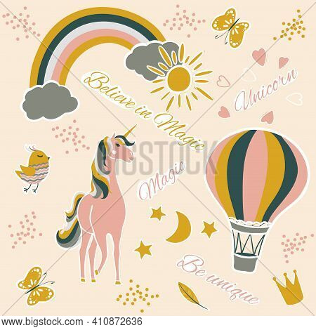 Vector Set Of A Cute Design Elements, Unicorn, Rainbow, Hot Air Balloon. Childrens Poster With Fairy