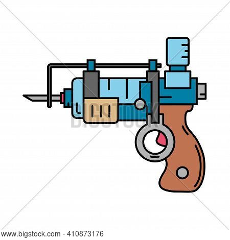 Line Color Medical Healthcare Art Icon Injection Gun. Professional Equipment Symbol. Science, Pharma