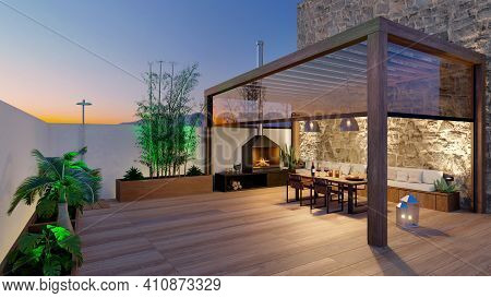 3d Render Of Urban Terrace With Natural Plants And Teak Wood Flooring. Bioclimatic Pergola With Tabl