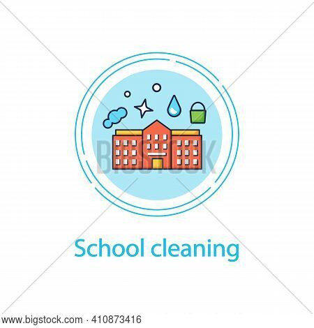 School Cleaning Concept Line Icon. Cleanup Rooms. Classroom Disinfection. Safety Space And Preventat