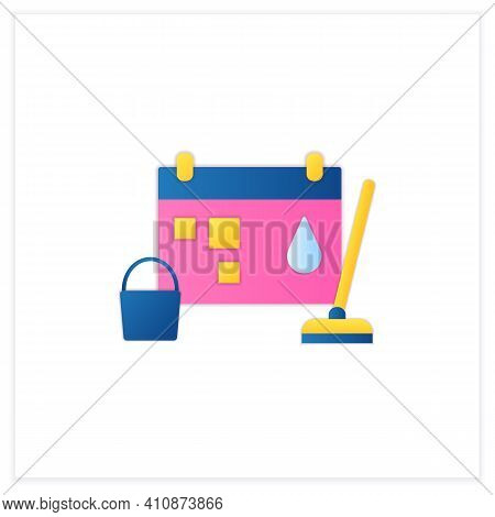 Holiday Cleaning Flat Icon. Spring Cleaning. Sweeping, Wiping.cleanup Calendar, Schedule. House Main