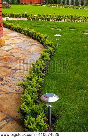 Garden stone path with decorative solar light.Detail of a botanical garden.