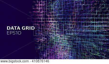 Abstract Data Grid Background. Hitech Ai Technology