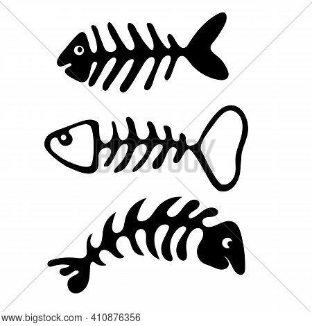 Set Of Fish Bones Skeleton Isolated On White Background. Vector Cartoon Illustration.