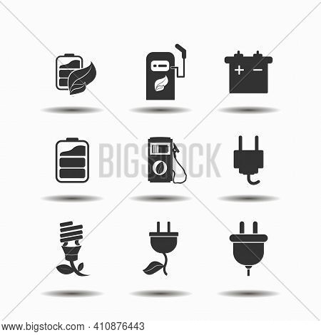 Alternative Energy Icon Set With, Green Leaf Battery, Electric Car Vector Icon Set, Alternative Ener