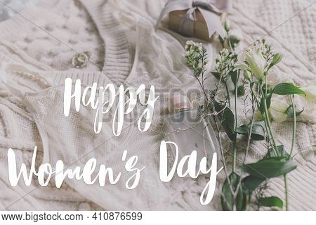 Happy Womens Day Greeting Card. Stylish Handwritten Text Sign On Lace Lingerie, Perfume Bottle, Jewe