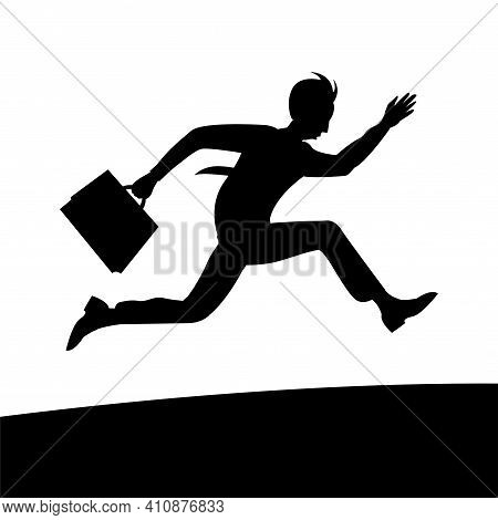 A Young Business Man In A Tie And With A Briefcase In Hand Is In A Hurry. Runs At High Speed. Isolat