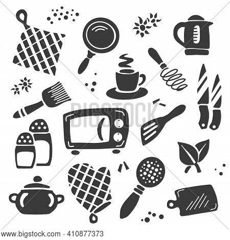 A Set Of Kitchen Items: Kettle, Frying Pan, Microwave Oven, Knife, Cup, Glove, Seasoning, Salt. Vect