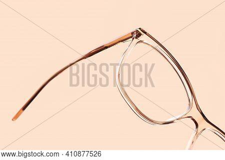 Eyewear Spectacles Close Up Isolated On Beige Background