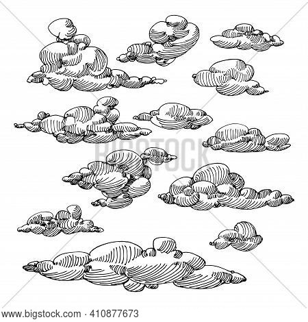 Set Of Clouds In The Sky, Ornament Elements, Weather Phenomenon, Vector Illustration With Black Ink