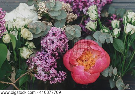 Spring Stylish Fresh Bouquet Composition On Rustic Wood, Floral Still Life. Beautiful Big Pink Peony