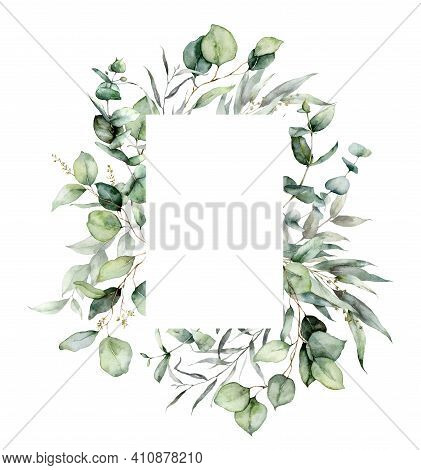 Watercolor Vertical Frame Of Eucalyptus Branches, Seeds And Leaves. Hand Painted Card Of Silver Doll