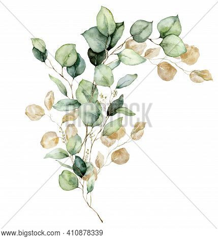 Watercolor Floral Card Of Gold Eucalyptus Seeds, Leaves And Branches. Hand Painted Silver Dollar Euc