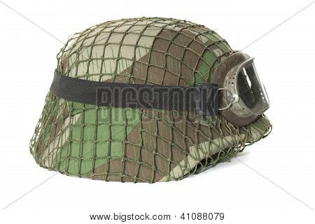 camouflaged helmet with protective goggles isolated on white background poster