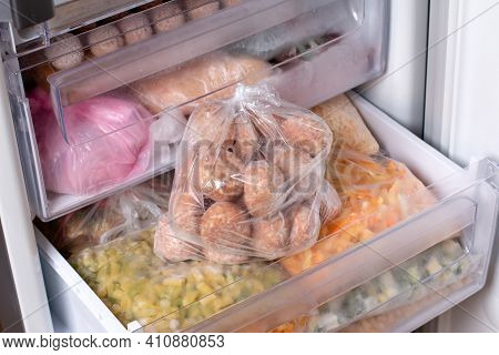 Frozen Minced Meat - Semi-finished Products In The Freezer. Frozen Mitboly, Meatballs, Burgers Cutle