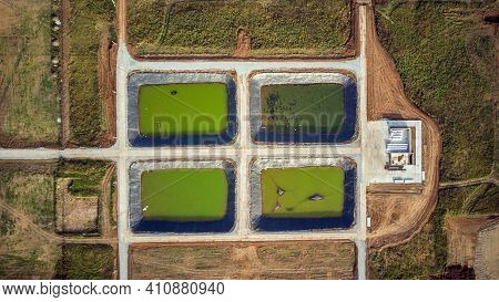 View From The Drone. Aerial Photography Of Sewage Treatment Plants. Water Treatment. Sewage Water Pl