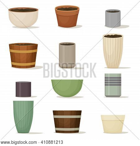 Collection Of Flower Pots. Terracotta, Ceramic And Wooden Planters Of Various Shapes And Colors. Int