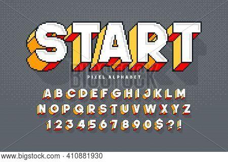 Pixel Vector Alphabet Design, Stylized Like In 8-bit Games. High Contrast, Retro-futuristic.