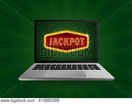 Flat Jackpot Light For Game Background Design. Glow Light Effect. Vector Background. Flat Vector.