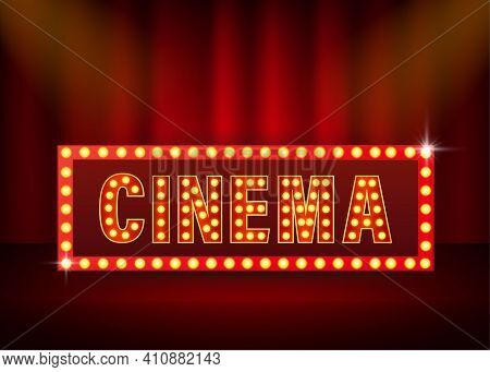 Retro Realistic Ad Banner With Cinema Light On Yellow Background. Number Font. 3d Vector. Realistic